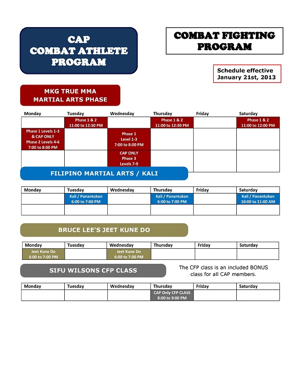 MKG Class Schedule 2013 - CAP Combat Fighting
