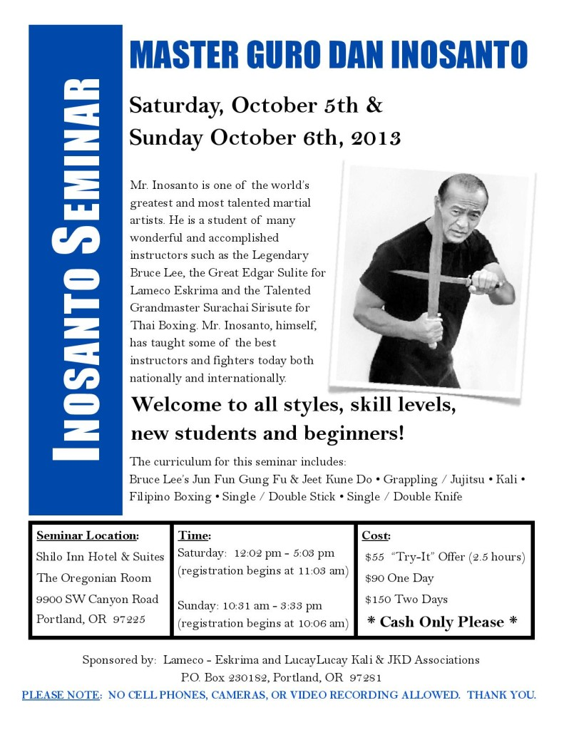 Inosanto Seminar 2013 Portland, OR  MKG SEattle