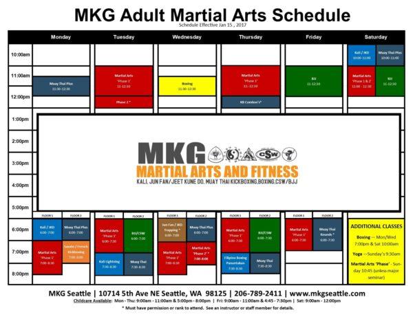 MKG Seattle Martial Arts Schedule