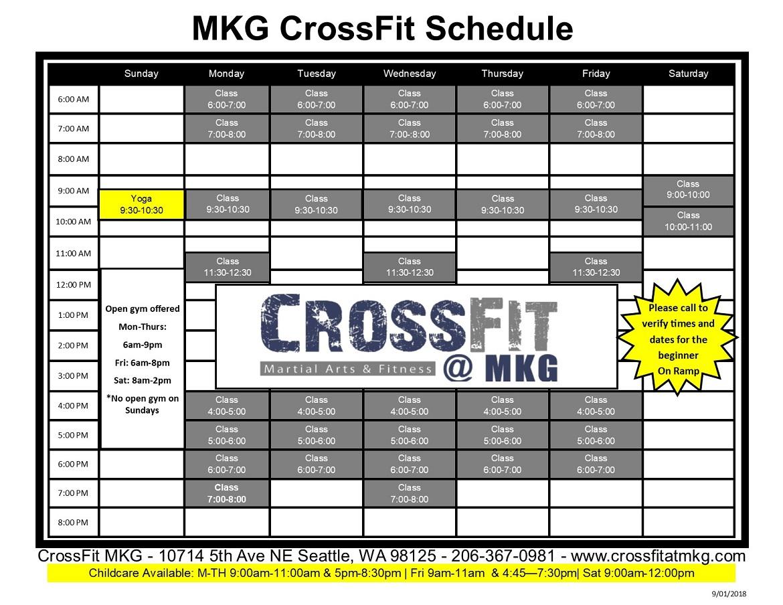 CrossFit MKG Scheudle 2019