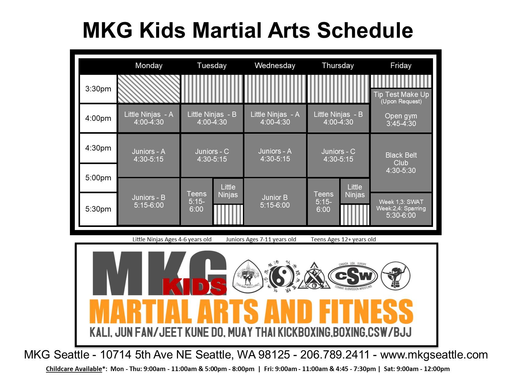 Kids MA Schedule 2019