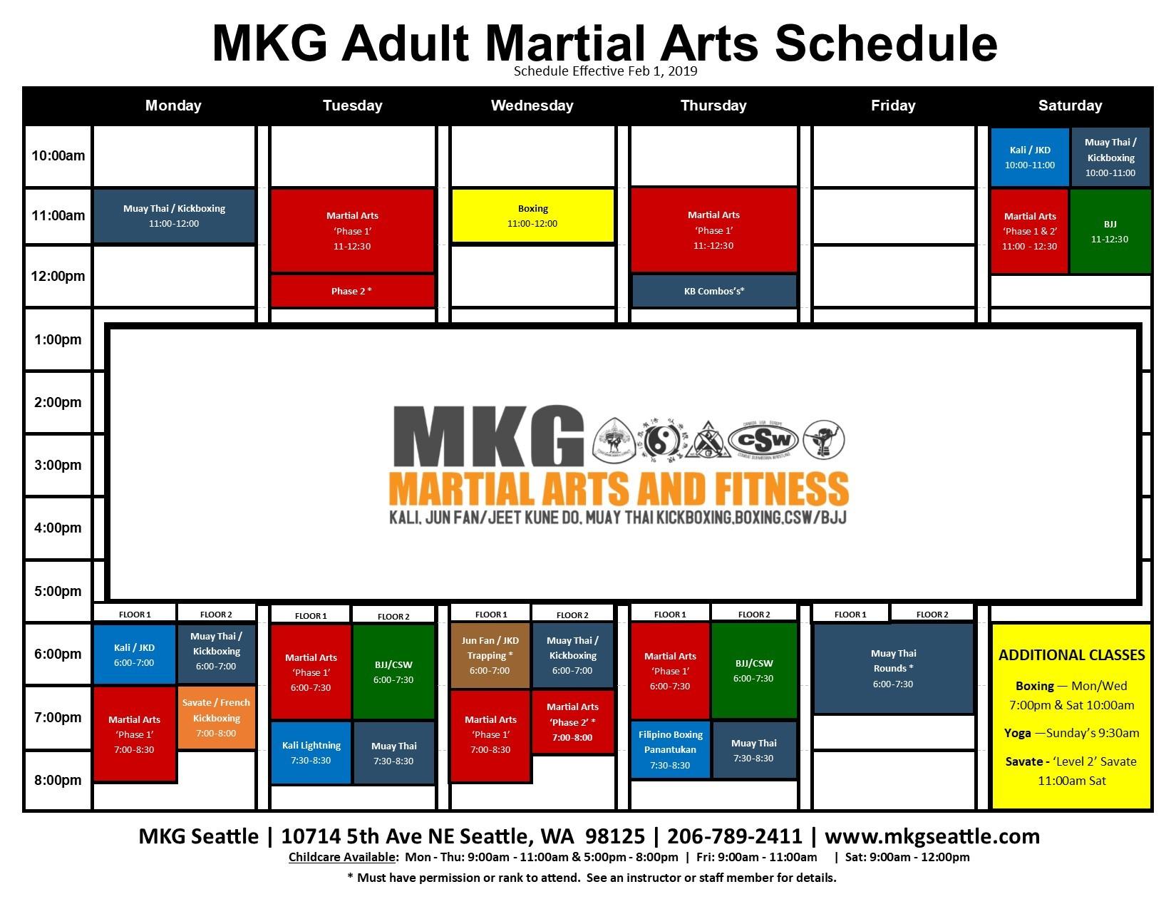 MKG Seattle Class Schedule | Martial Arts