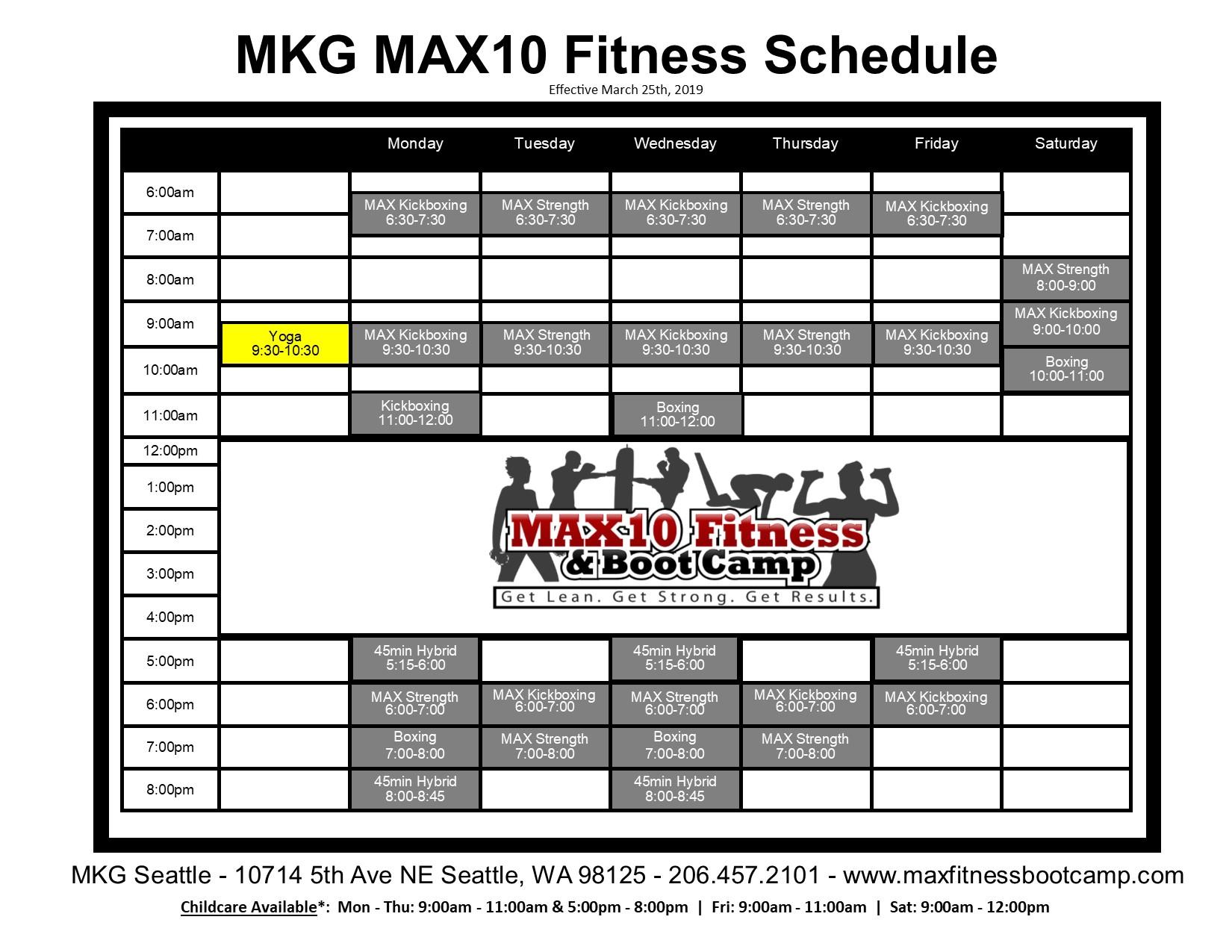 Max10 Schedule 2019
