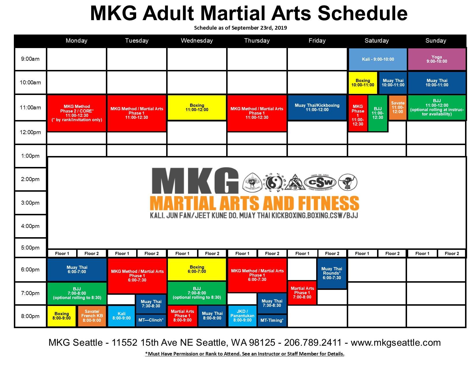 MKG Seattle Adult Martial Arts Schedule 2019