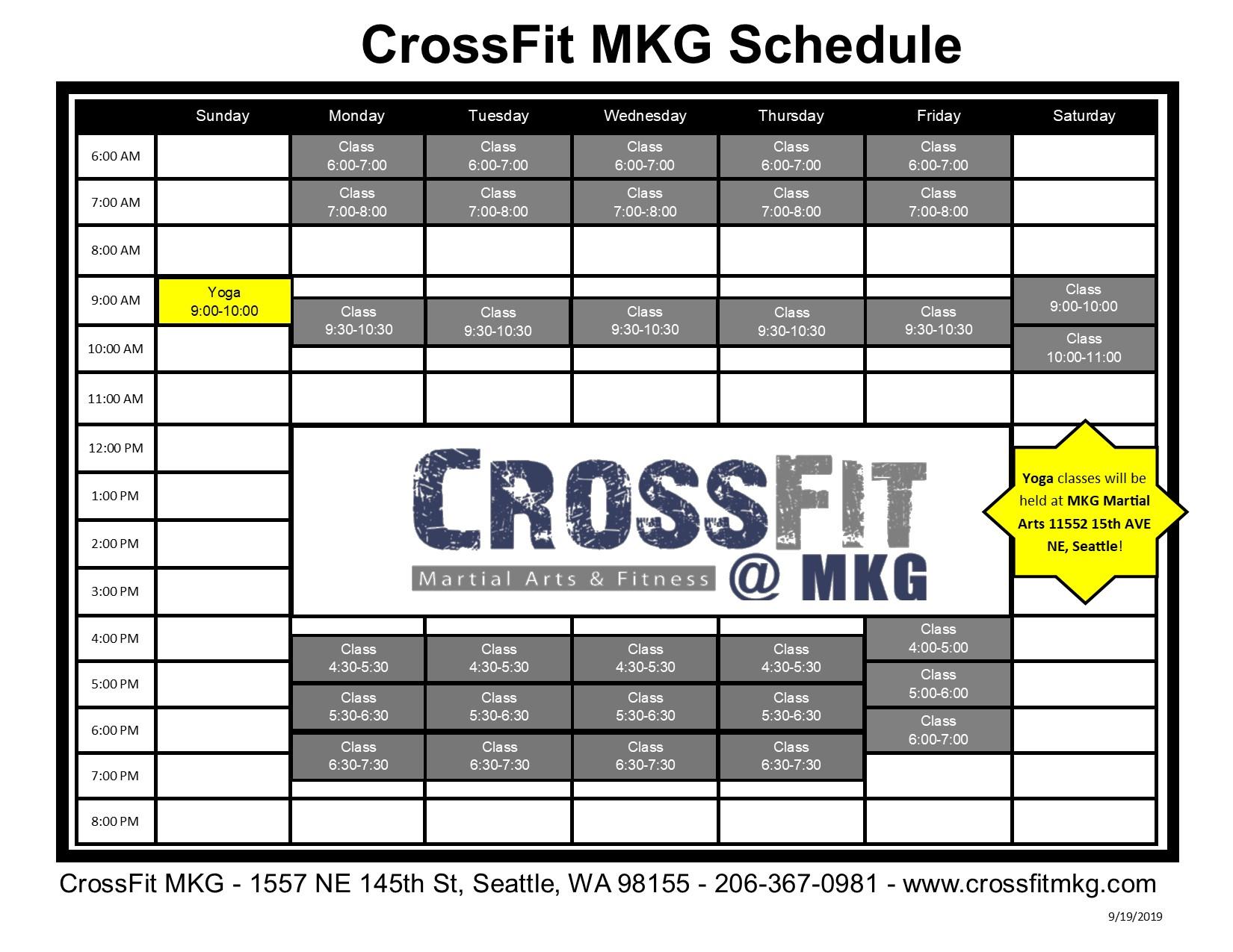 CrossFit Northpark Schedule 2019 1