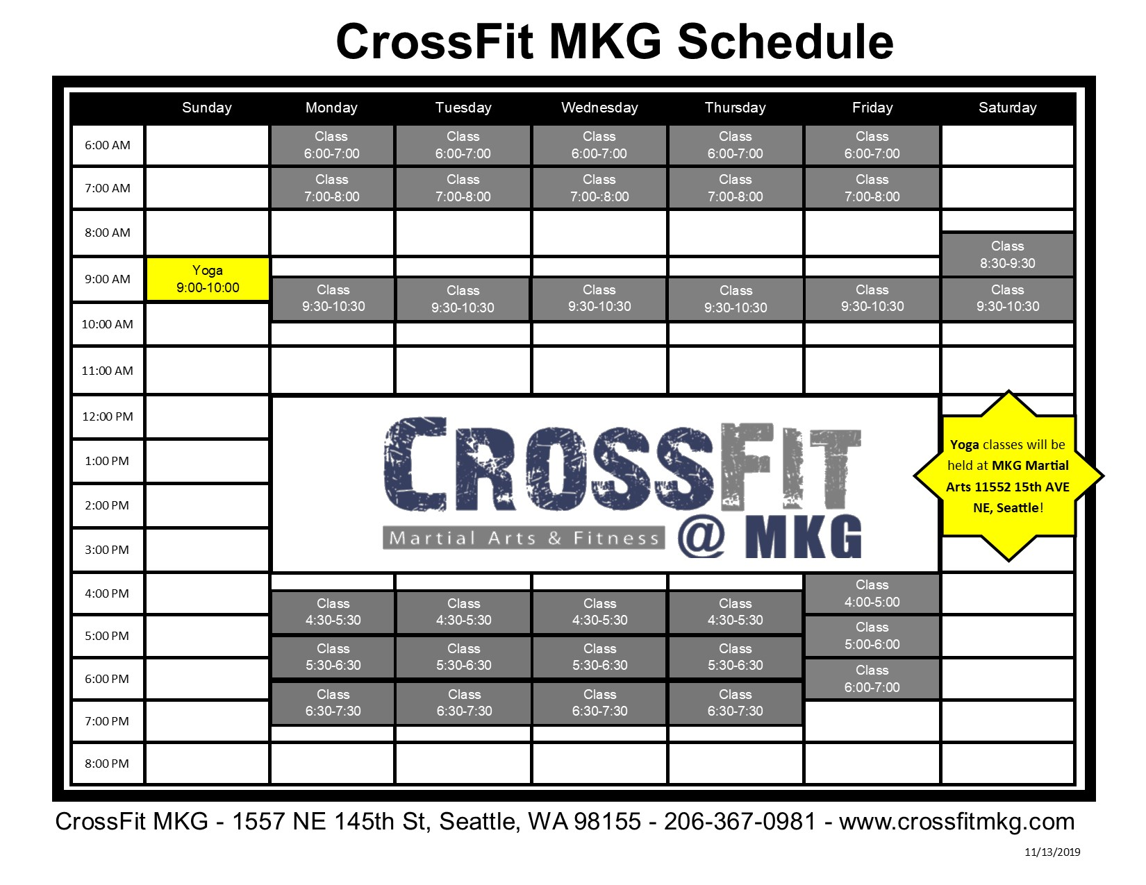 CrossFit Northpark Schedule 2019 2