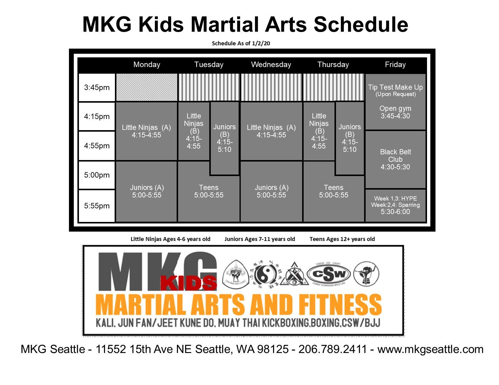 Kids MA Schedule 2020 Pinehurst